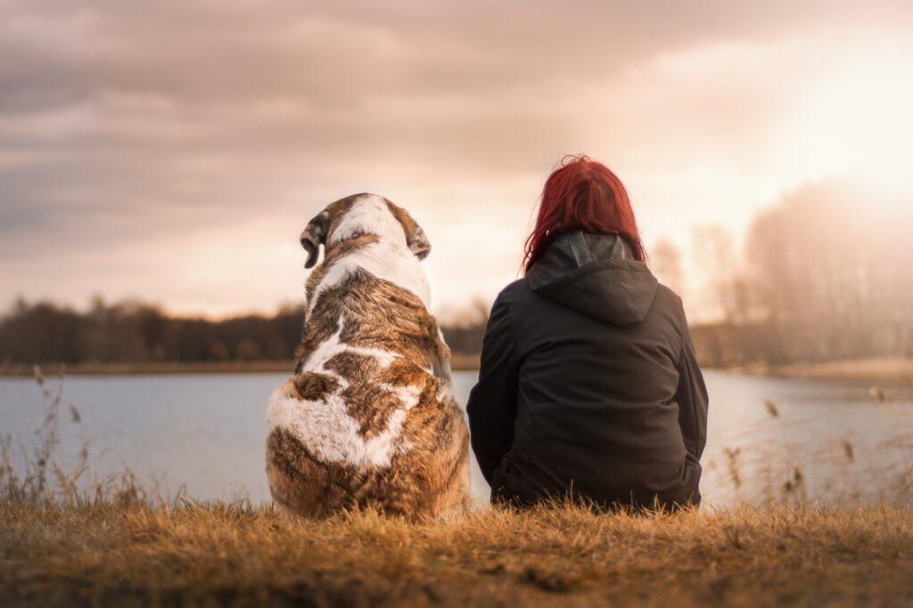 Woman and dog looking at lake.